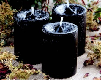 "BLACK DRAGON ""Old European Witchcraft""™ Black Pillar Votive Candles with Dragon's Blood"