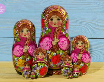 Russian nesting doll, Mothers day gift idea, Matryoshka, Gift for woman, Wooden babushka, Handpainted stacking dolls, Handmade art dolls
