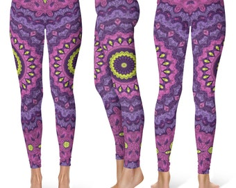 Funky Leggings Yoga Pants, Wild Printed Yoga Tights for Women, Festival Clothing, Burning Man