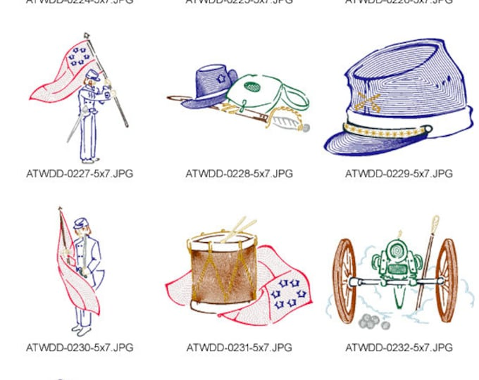 Outline-Civil-War-5X7-DD ( 10 Machine Embroidery Designs from ATW )