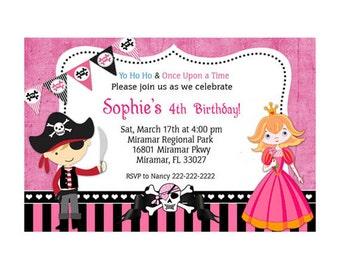 Princess and Pirate Birthday Party Invitation - Printable