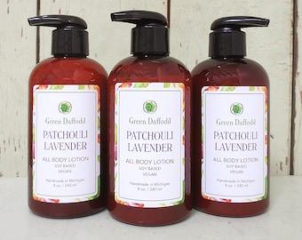 Patchouli Lavender Soy Hand & Body Lotion - Green Daffodil - VEGAN -SL8