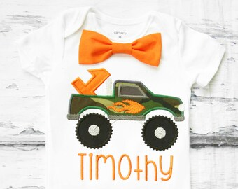 Baby boy first birthday camouflage Monster Truck cake smash outfit boy camo flame truck 1st birthday one year bow tie onesie birthday shirt