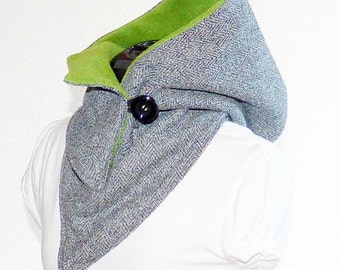 Warm hooded scarf - woolen fabric with fleece