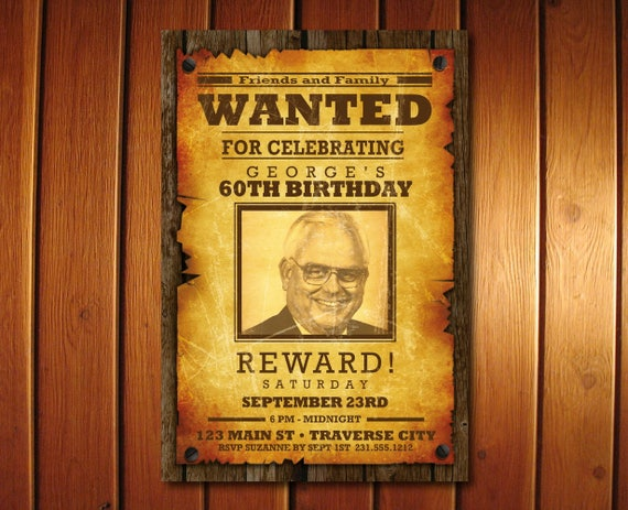Wanted Birthday Invitation Western Cowboy Wanted Poster