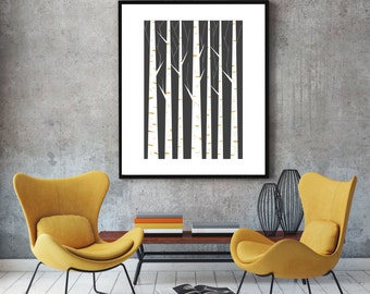 Geometric print, wall art, minimalist art poster, scandinavian print, nordic design, minimalist wall decor, black and white, Birch forest
