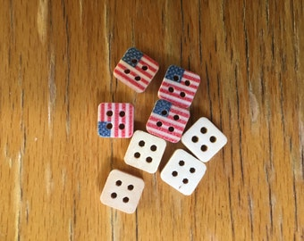 USA Flag Wooden Buttons - Sewing  Event  Wood Scrapbooking Embellishment Stars and Stripes