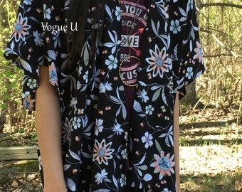 VINTAGE FLOWERS Kimono,Boho Kimono,Bohemian Kimono,Summer Cardigan,Beach Cover Up,Light Kimono