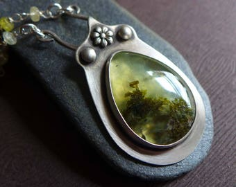 Green Prehnite Necklace, Prehnite Bezel Set Statement Sterling Silver Necklace, Mother's Day Gift, Teardrop Gemstone Artisan Silver Pendant