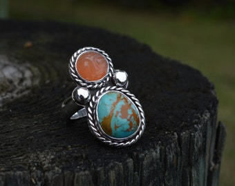 Man in Moonstone Turquoise Ring, Moonstone, Turquoise, Man in Moon, Peach Moonstone, Moonstone Ring, Turquoise Ring, Sterling Silver