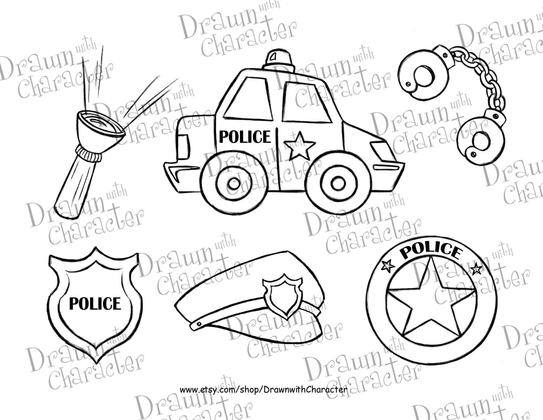 Polizei Auto Set /Digital Stempel Kunst /