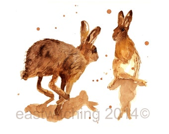 HARE Print - 8x10inches - Happily Haring Around, hares, hare art