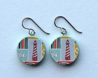 lighthouse earrings, lighthouse earrings striped, lighthouse earrings double sided, LIGHTHOUSE, hypoallergenic titanium earwires