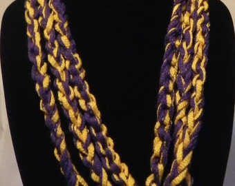 College Football Scarf/Necklace in Varigated Purple and Gold