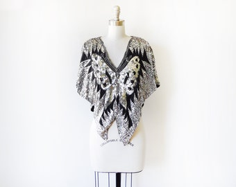 silver sequin butterfly top, vintage 70s 80s black silk and sequin blouse, disco shirt, beaded silk blouse, extra small, small, medium