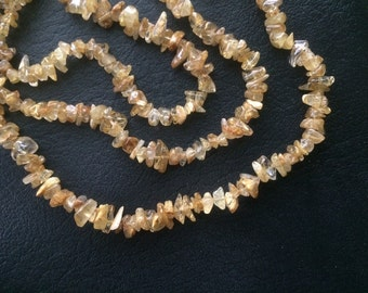 "16"" Natural Gold Rutilated Quartz Nugget Chip Beads"