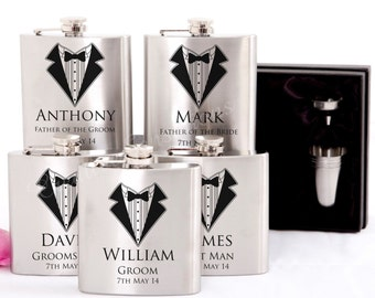 5x Engraved Stainless Hip Flask Gift Personalised Wedding Groomsman Bridal Party