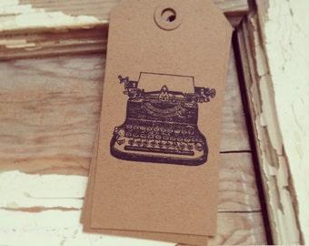 10 vintage typewriter kraft chipboard gift tags