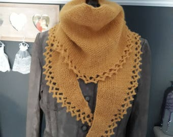Short rows Moss mohair scarf