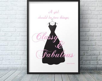 Coco Chanel Famous Quote Wall Art Print, Dorm Room Decor, Fashion Print, A Girl Should Be Two Things College Freshman Gift Idea Quote Poster