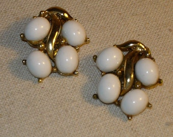Vintage White Clip On Earrings with White Cabachons