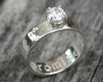 Personalized Sterling Silver Promise Ring with Cubic Zirconia
