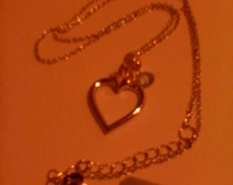 Sterling silver blue topaz heart pendant and chain