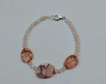 Pink Matrix Jasper and Rose Quartz Bracelet