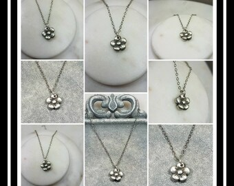 Memorial Ash Pure Silver Flower Pendant Necklace/Memorial Ash Cremation Pendant/Pet Memorial