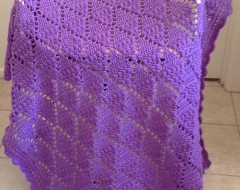 Lacy Diamond Crochet Blanket