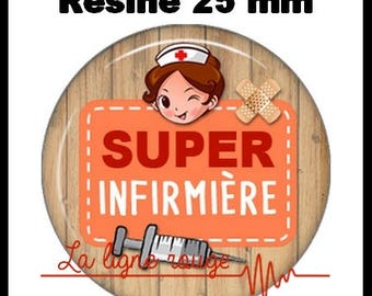 Round cabochon resin 25 mm - Super nurse stick (1951) - hospital, medical