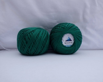 beaded crochet or knit cotton Pine Green