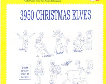 Vintage Aunt Martha's Hot Iron Transfers, Embroidery, Pattern, Needlepoint, Aunt Martha, Hot Iron, Transfer, 3950, Christmas Elves