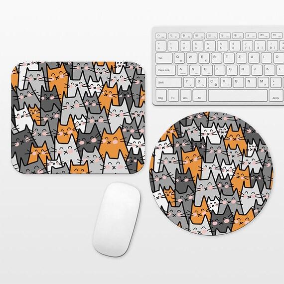 Cat Mouse Pad Cat Mousepad, Orange Gray Mouse Pad Cute Mouse Mat, Circle Round Rectangular, Desk Decor Office Desk Accessories for Women Men