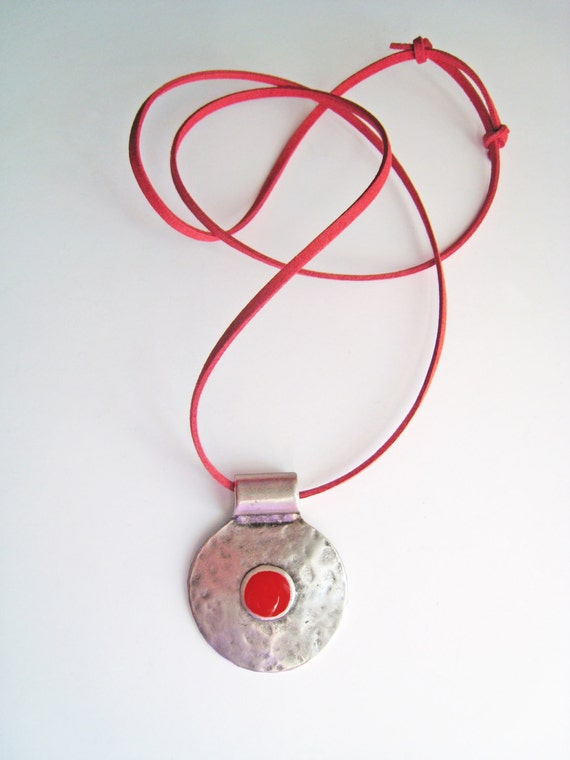 Red bohemian necklace, ruby red necklace, boho tribal pendant, red resin necklace, hammered silver round pendant, ancient greek amulet