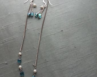 Blue and White Necklace and Earrings Set