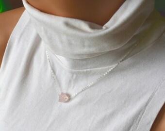 Raw Rose Quartz Necklace, Sterling Silver Rough Cut Rose Quartz Pendant, Dainty Crystal Necklace, Minimal Necklace, Large Stone Necklace