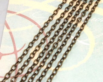 Flattened Cable Chain Soldered Antiqued Brass 3mm 6' AB32