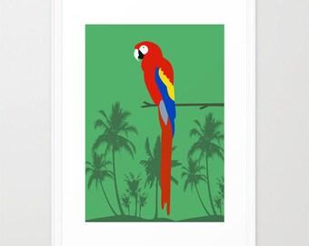Parrot art print-Toucan art print-Tropical poster-Cool green art-Jungle art-Bird poster-Tropical decorative Art Print-Colourful Large Print