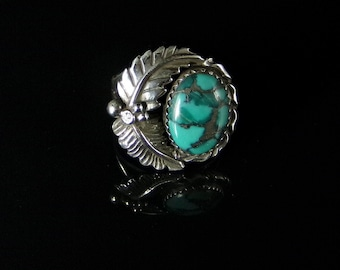Natural Turquoise Ring Sterling Silver Handmade Size 7.75, R0330
