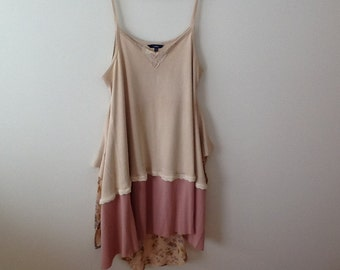 SALE Romantic Boho Tunic Upcycled Clothing Refashioned Shabby Mori Hippie Lagenlook Repurposed Tank Top Tunic. Women's Size Large to XL.