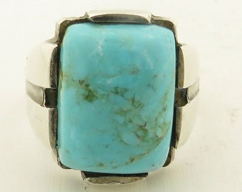 Vintage Sterling Silver Natural Blue Turquoise Ring / 11