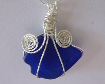 Handmade Sea Glass Jewelry, Blue Necklace, Beach Glass Necklace, Sea Glass Pendant, Wire Wrapped Jewelry, Wrapped Beach Glass