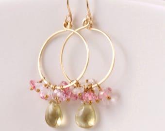 Lemon Quartz Earrings, Moonstone Earrings, Pink Topaz Earrings, 14k Gold Filled, Hoop Earrings, Gemstone Cluster - Leora