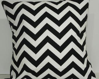 New 18x18 inch Designer Handmade Pillow Cases. Black and white zig zag, chevron pattern.