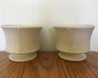 Pair of white Floraline planters swirl pattern
