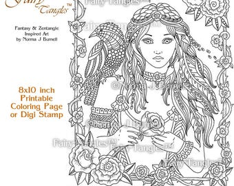 Rose Awakening - Fairy Tangles Printable Coloring Book Pages Norma J Burnell Digital Coloring Sheets Adult Goth Coloring Sheets Goth Fairies