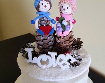 Pinecones Wedding Cake Topper with Cones  Bride and Groom Wedding Cake Topper love Cake Topper Banner