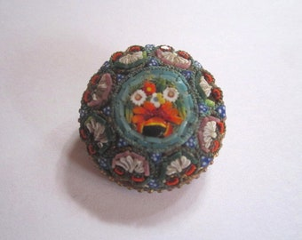 Antique c1910 Edwardian Micro Mosaic Round Pin Brooch