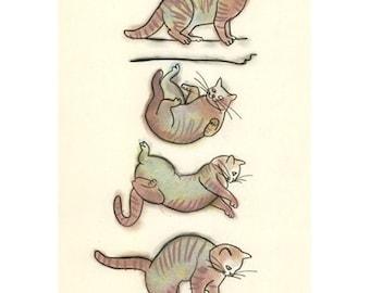 "Cat art drawing (print) - Flying Kitten - 8.3"" X 11.8"" - 4 for 3 SALE"